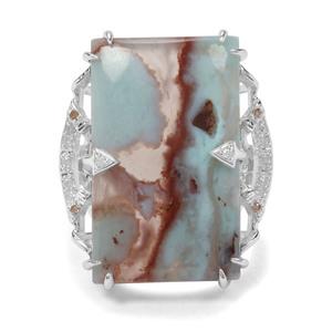 Aquaprase™, Champagne & White Diamond Sterling Silver Ring ATGW 17.58cts