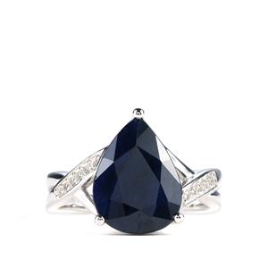 Madagascan Blue Sapphire Ring with White Topaz in Sterling Silver 6.80cts