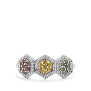 1/2ct Multi Colour Diamond 9K White Gold Ring
