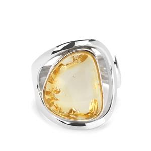 Baltic Champagne Amber (13x15mm) Ring in Sterling Silver