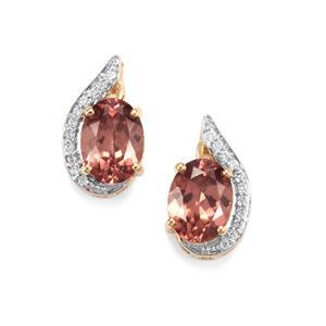 Zanzibar Zircon & Diamond 18K Gold Tomas Rae Earrings MTGW 3.85cts