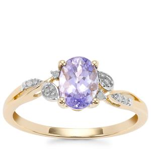 AA Tanzanite Ring with Diamond in 9K Gold 0.97cts