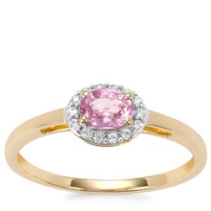 Sakaraha Pink Sapphire Ring with White Zircon in 10K Gold 0.51cts