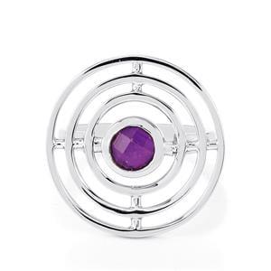 Amethyst & Rose Quartz Sterling Silver Reversible Ring ATGW 1.64cts