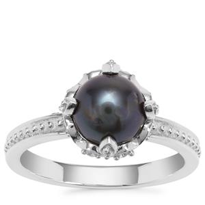 Tahitian Cultured Pearl Ring with White Zircon in Sterling Silver (7mm)