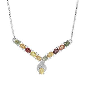 Rainbow Sapphire Necklace with White Zircon in Sterling Silver 2.80cts