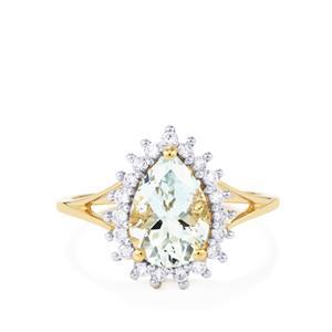 Pedra Azul Aquamarine & White Zircon 9K Gold Ring ATGW 2cts
