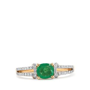 Zambian Emerald Ring with Diamond in 18K Gold 0.86cts