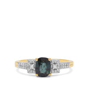 Nigerian Blue Sapphire & Diamond 18K Gold Tomas Rae Ring MTGW 1.20cts