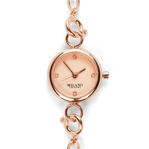 Diamond Rose Tone Stainless Steel Watch with Milano Bracelet