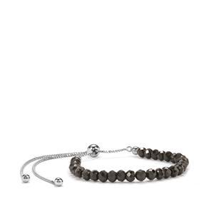 Black Spinel Slider Graduated Bead Bracelet in Sterling Silver 15.50cts
