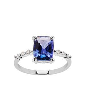 AAA Tanzanite Ring with Diamond in 9K White Gold 2.25cts