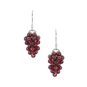 Red Garnet Earrings in Sterling Silver 15cts