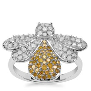 Yellow Diamond Bee Ring with White Diamond in Sterling Silver 0.75ct
