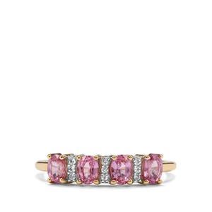 Sakaraha Pink Sapphire & White Zircon 9K Gold Ring ATGW 0.91cts