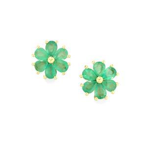 Zambian Emerald Earrings in 9K Gold 1.59cts