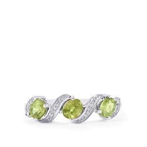 Ambanja Demantoid Garnet & Diamond 10K White Gold Ring ATGW 1.08cts