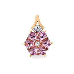 Lehrer TorusRing Rose De France Amethyst Pendant with Diamond in 10k Rose Gold 2.87cts