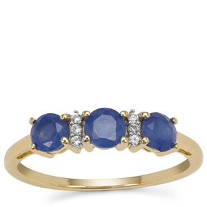 Burmese Blue Sapphire Ring with White Zircon in 9K Gold 1.15cts