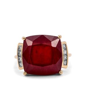 Malagasy Ruby Ring with White Zircon in 10K Gold 17.45cts (F)