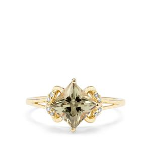 Csarite® & Champagne Diamond 9K Gold Ring ATGW 2cts