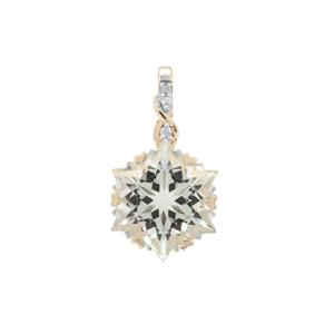 Wobito Snowflake Cut Prasiolite Pendant with Diamond in 9K Gold 7.05cts