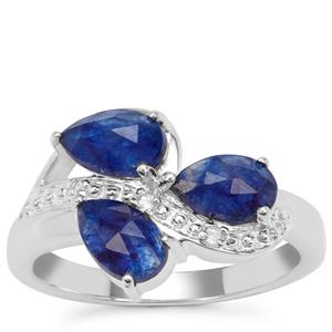 Rose Cut Blue Sapphire Ring with White Zircon in Sterling Silver 2.28cts