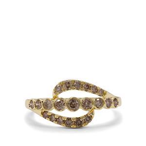 3/4ct Champagne Diamond 9K Gold Ring