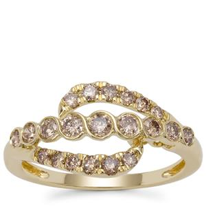 Champagne Diamond Ring in 9K Gold 0.76ct