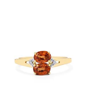 Zanzibar Sunburst Zircon & Diamond 9K Gold Ring ATGW 1.60cts
