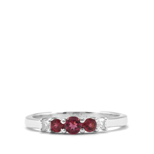 Rajasthan Garnet Ring with White Zircon in Sterling Silver 0.59ct