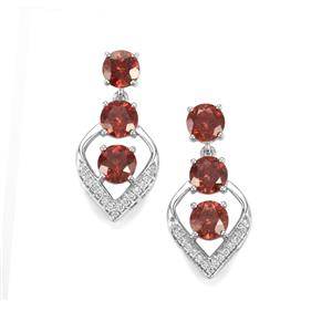 Zanzibar Zircon Earrings with Diamond in 18K White Gold 7.42cts