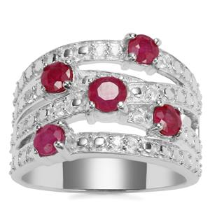 Malagasy Ruby Hollywood Ring with White Topaz in Sterling Silver 1.13cts (F)