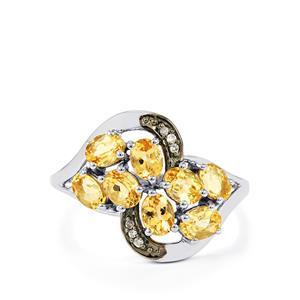 Ouro Preto Imperial Topaz & Champagne Diamond 9K White Gold Ring ATGW 1.64cts