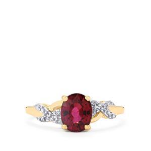 Malawi Garnet & Diamond 9K Gold Ring ATGW 1.70cts