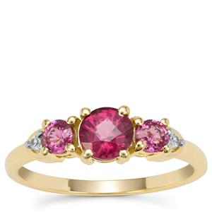 Comeria Garnet Ring with White Zircon in 9k Gold 1.30cts