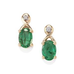 Bahia Emerald & Diamond 10K Gold Earrings ATGW 0.77cts