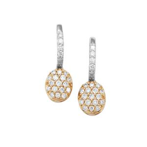 1/2ct Diamond 18K Gold Tomas Rae Earrings with Platinum Hoop