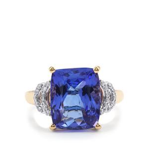 AAA Tanzanite & Diamond 18K Gold Lorique Ring MTGW 6.45cts