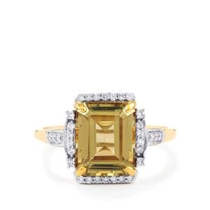 Csarite® Ring with Diamond in 18K Gold 3.84cts