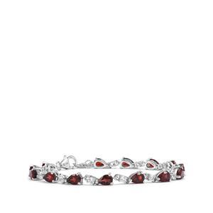 Rhodolite Garnet Bracelet with White Topaz in Sterling Silver 8.40cts