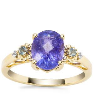 AA Tanzanite, Marambaia London Blue Topaz Ring with White Zircon in 9K Gold 2.74cts