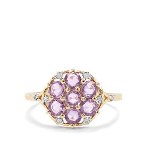 Rose Cut Natural Purple Sapphire & Diamond 9K Gold Ring ATGW 1.27cts