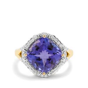 AAA Tanzanite & Diamond 18K Gold Lorique Ring MTGW 6.36cts