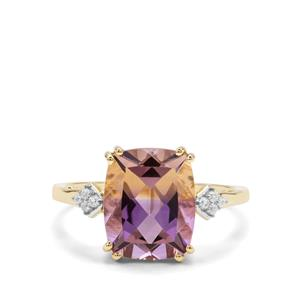 Anahi Ametrine Ring with White Zircon in 9K Gold 3.79cts