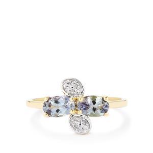 Bi-Color Tanzanite & Diamond 10K Gold Ring ATGW 1cts