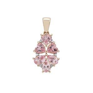 Cherry Blossom Morganite Pendant with White Diamond in 9K Gold 2.19cts