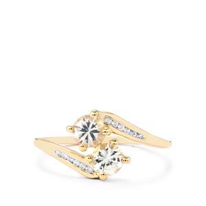 0.86ct Ceylon White Sapphire 9K Gold Ring