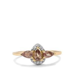Menarandra Garnet Ring with White Zircon in 10K Gold 0.83ct