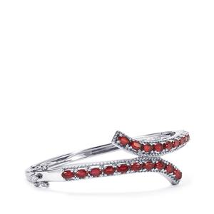 5.21ct Malagasy Ruby Sterling Silver Oval Bangle (F)